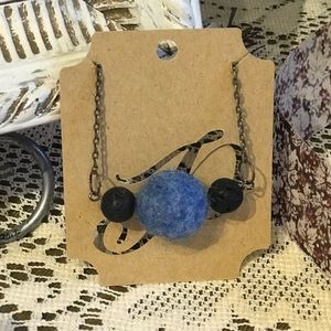 """Felted wool Pom Pom """"ball"""" earrings and necklace."""